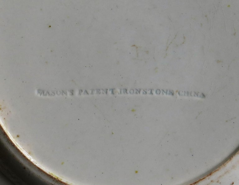 Masons Ironstone Dinner Plate Chinese Ladies with Cranes Rare Pattern circa 1815 For Sale 3