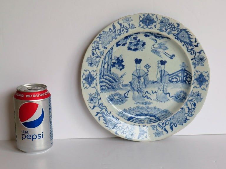Masons Ironstone Dinner Plate Chinese Ladies with Cranes Rare Pattern circa 1815 For Sale 4