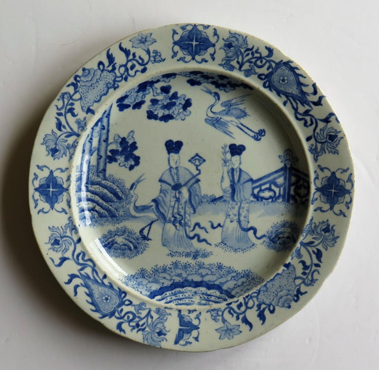 English Masons Ironstone Dinner Plate Chinese Ladies with Cranes Rare Pattern circa 1815 For Sale