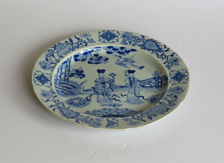 Glazed Masons Ironstone Dinner Plate Chinese Ladies with Cranes Rare Pattern circa 1815 For Sale