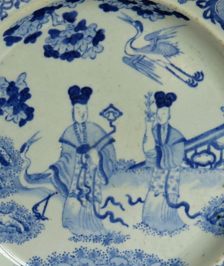 19th Century Masons Ironstone Dinner Plate Chinese Ladies with Cranes Rare Pattern circa 1815 For Sale