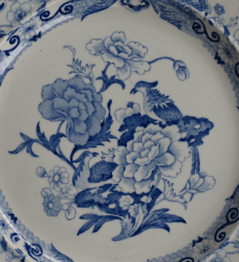 Glazed Masons Ironstone Dinner Plate in Blue India Pheasants Pattern, circa 1815 For Sale