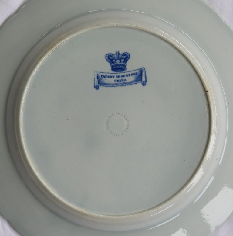19th Century Masons Ironstone Dinner Plate in Blue India Pheasants Pattern, circa 1815 For Sale