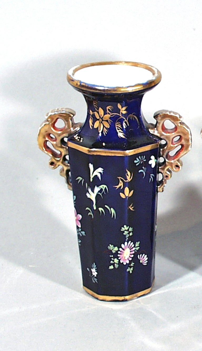 English Mason's Ironstone Garniture of Three Vases, circa 1835 For Sale