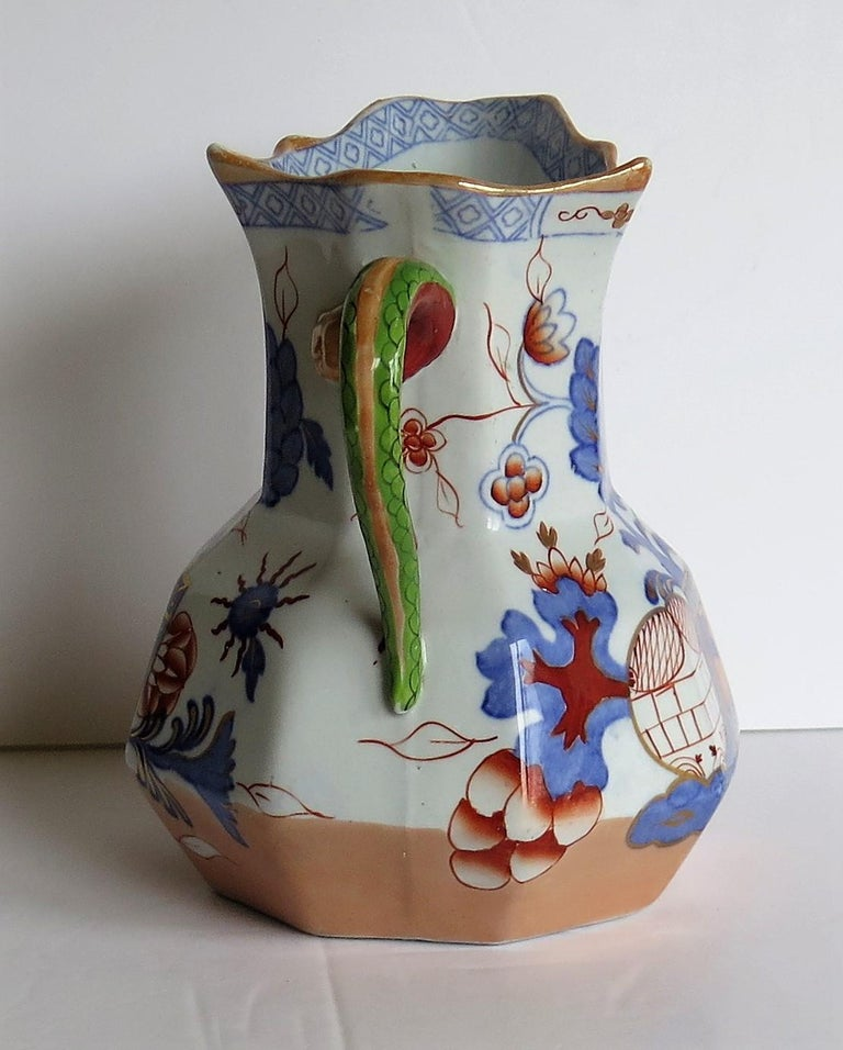 Hand-Painted Mason's Ironstone Hydra Jug or Pitcher in the Jardinière Pattern, circa 1870