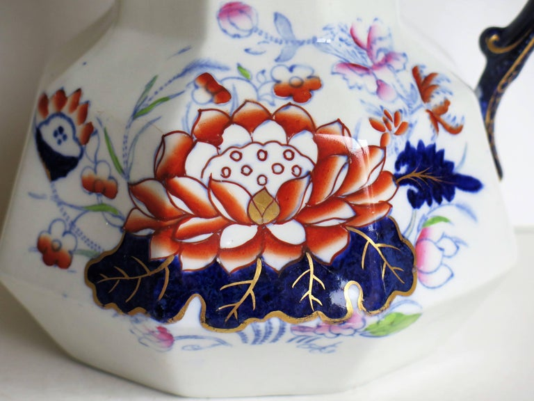 Mason's Ironstone Hydra Jug or Pitcher Water Lily Pattern, circa 1880 For Sale 4