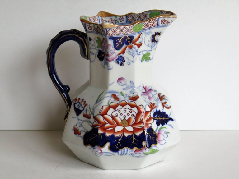 Mason's Ironstone Hydra Jug or Pitcher Water Lily Pattern, circa 1880 In Good Condition For Sale In Lincoln, Lincolnshire