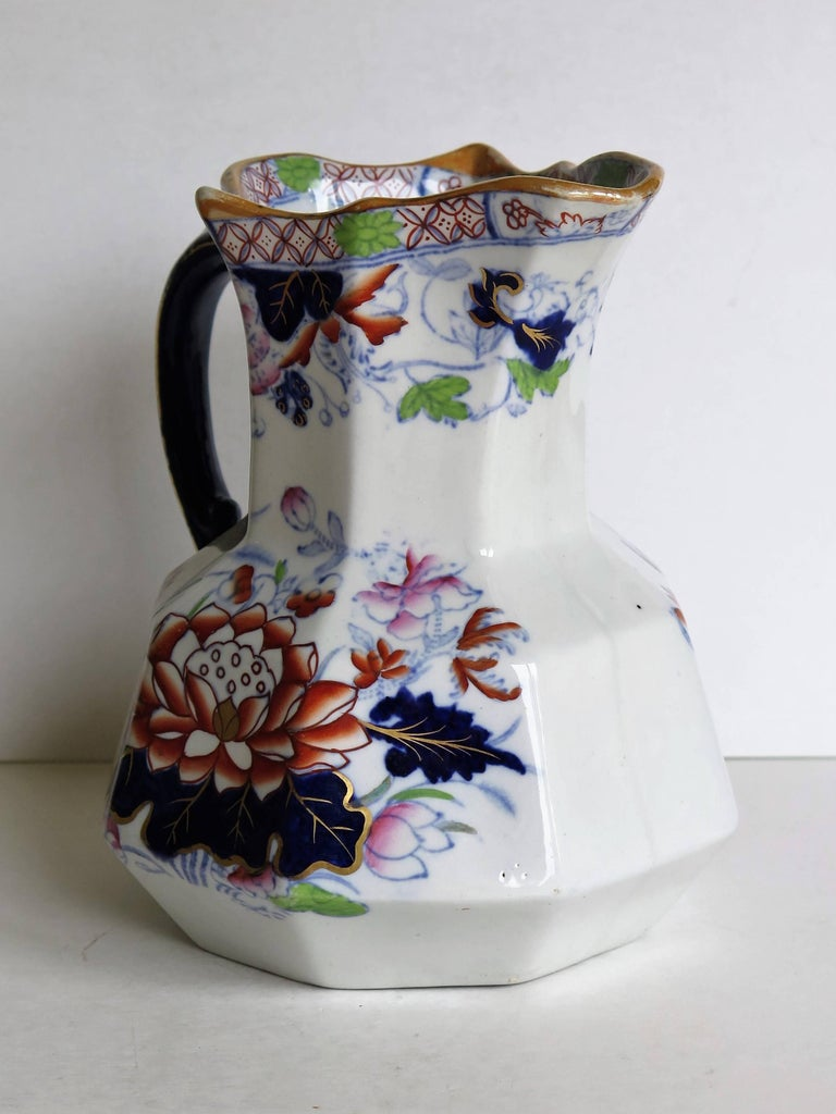 19th Century Mason's Ironstone Hydra Jug or Pitcher Water Lily Pattern, circa 1880 For Sale