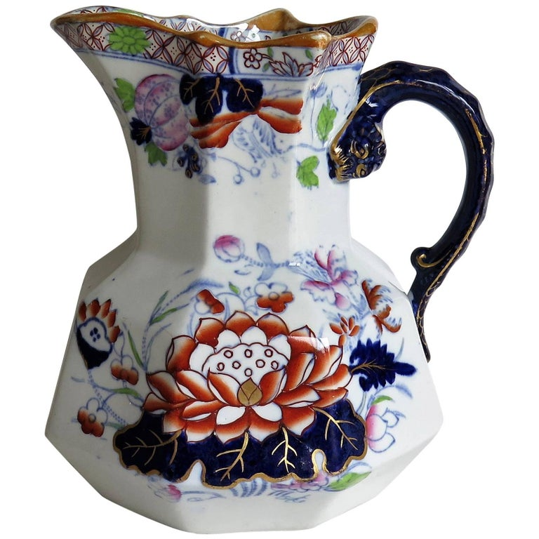Mason's Ironstone Hydra Jug or Pitcher Water Lily Pattern, circa 1880 For Sale