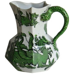 Mason's Ironstone Jug or Pitcher Green Dragon Chinoiserie Pattern, circa 1870