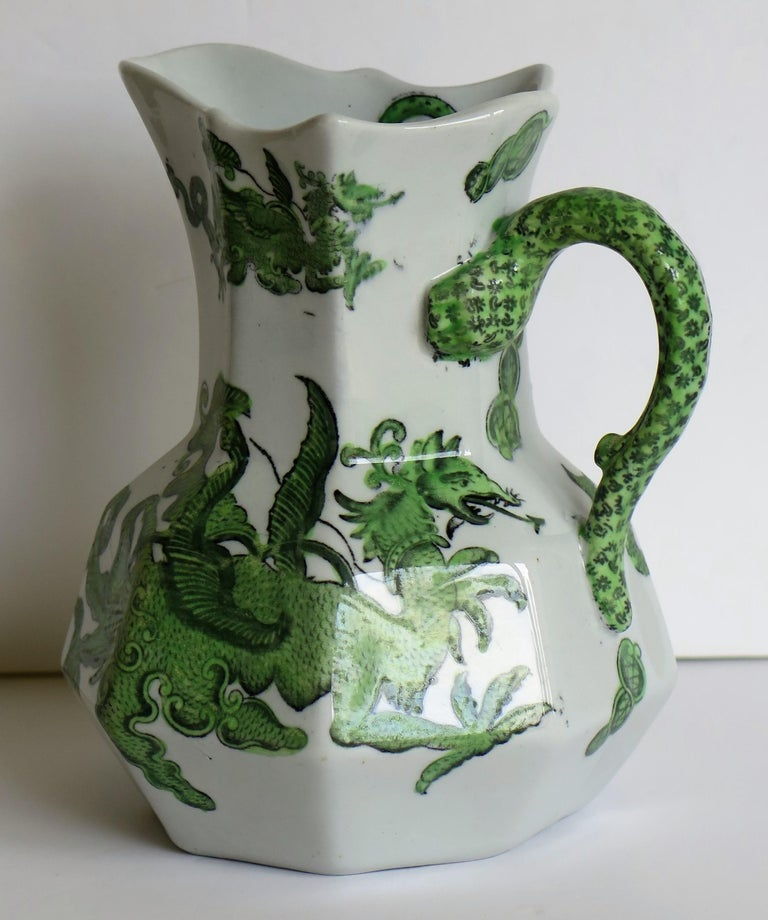 Mason's Ironstone Jug or Pitcher in Green Chinese Dragon Pattern, 19th Century For Sale 4