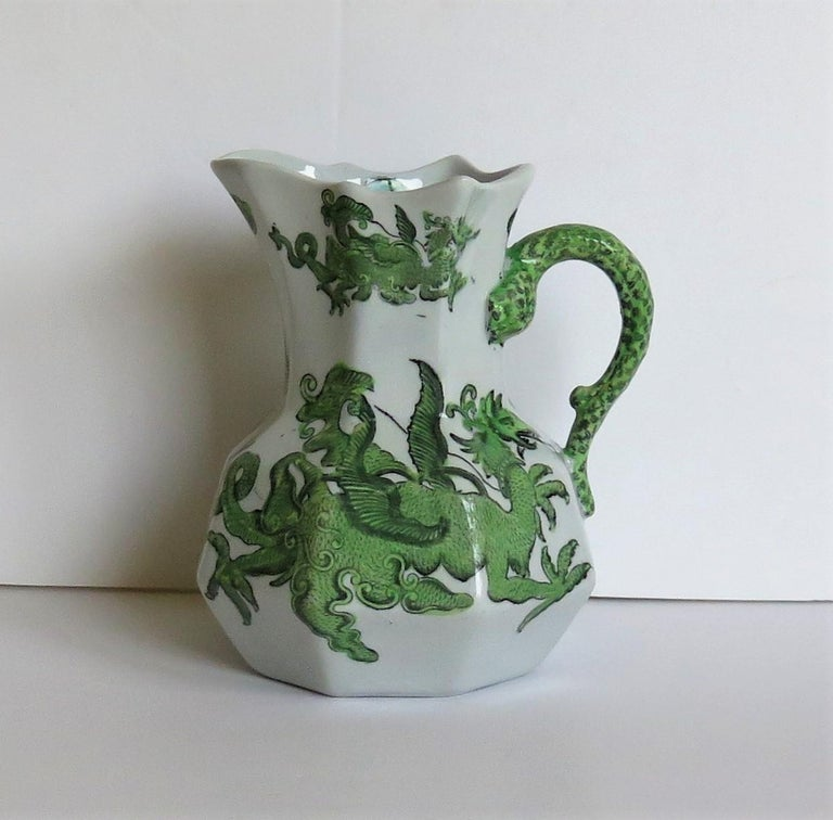 Chinoiserie Mason's Ironstone Jug or Pitcher in Green Chinese Dragon Pattern, 19th Century For Sale