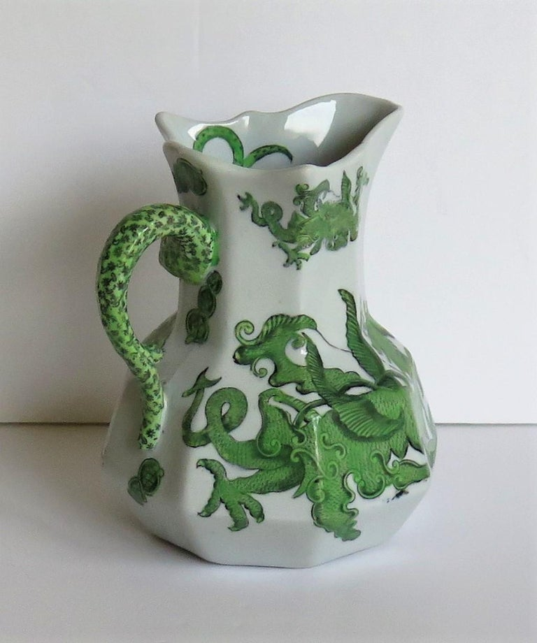 Hand-Painted Mason's Ironstone Jug or Pitcher in Green Chinese Dragon Pattern, 19th Century For Sale
