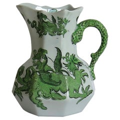 Mason's Ironstone Jug or Pitcher in Green Chinese Dragon Pattern, 19th Century