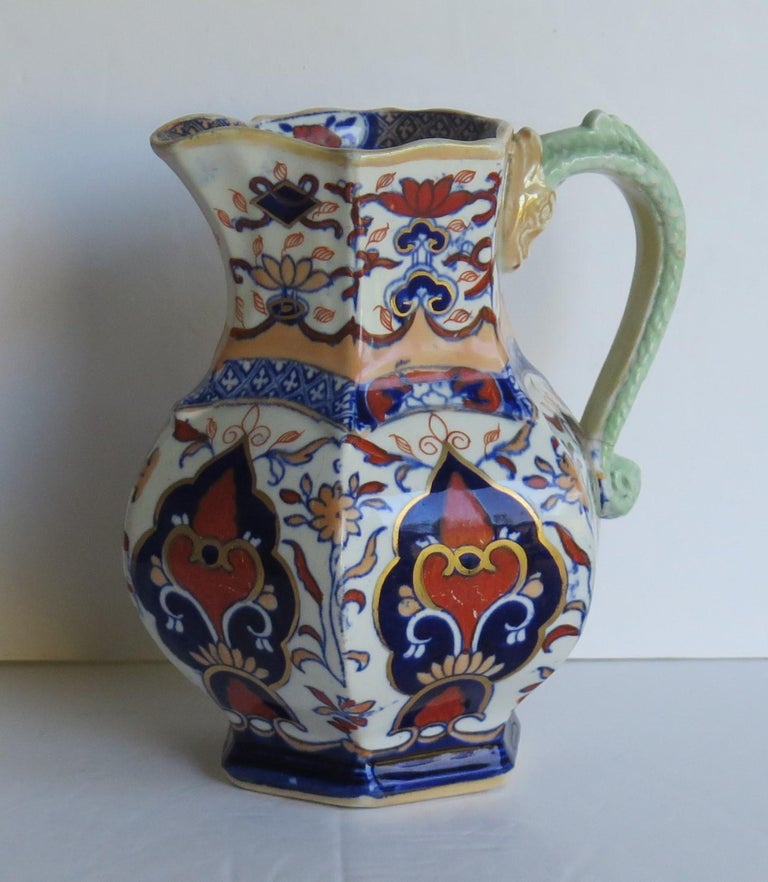 Mason's Ironstone Jug or Pitcher in Rare Shape and Pattern 306, circa 1830 For Sale 3