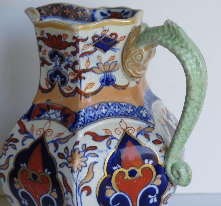 Mason's Ironstone Jug or Pitcher in Rare Shape and Pattern 306, circa 1830 For Sale 5