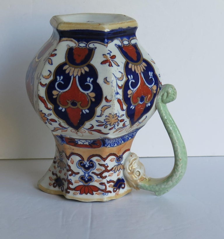Mason's Ironstone Jug or Pitcher in Rare Shape and Pattern 306, circa 1830 For Sale 7