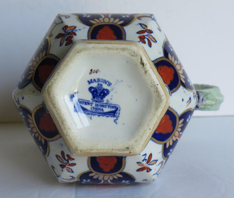 Mason's Ironstone Jug or Pitcher in Rare Shape and Pattern 306, circa 1830 For Sale 11