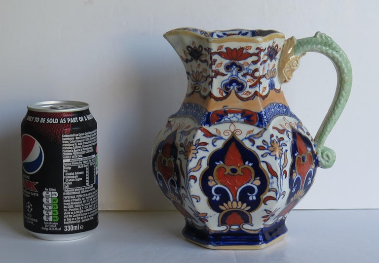 Mason's Ironstone Jug or Pitcher in Rare Shape and Pattern 306, circa 1830 For Sale 13