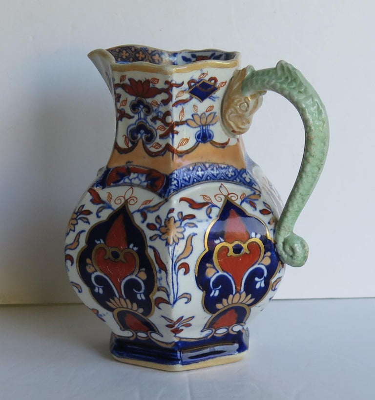 English Mason's Ironstone Jug or Pitcher in Rare Shape and Pattern 306, circa 1830 For Sale