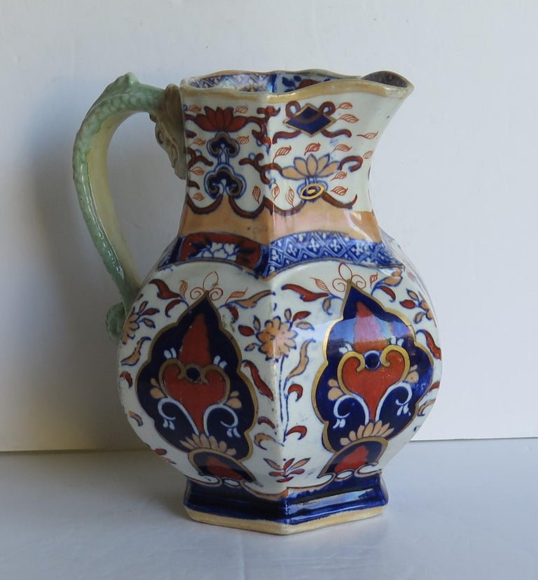 19th Century Mason's Ironstone Jug or Pitcher in Rare Shape and Pattern 306, circa 1830 For Sale