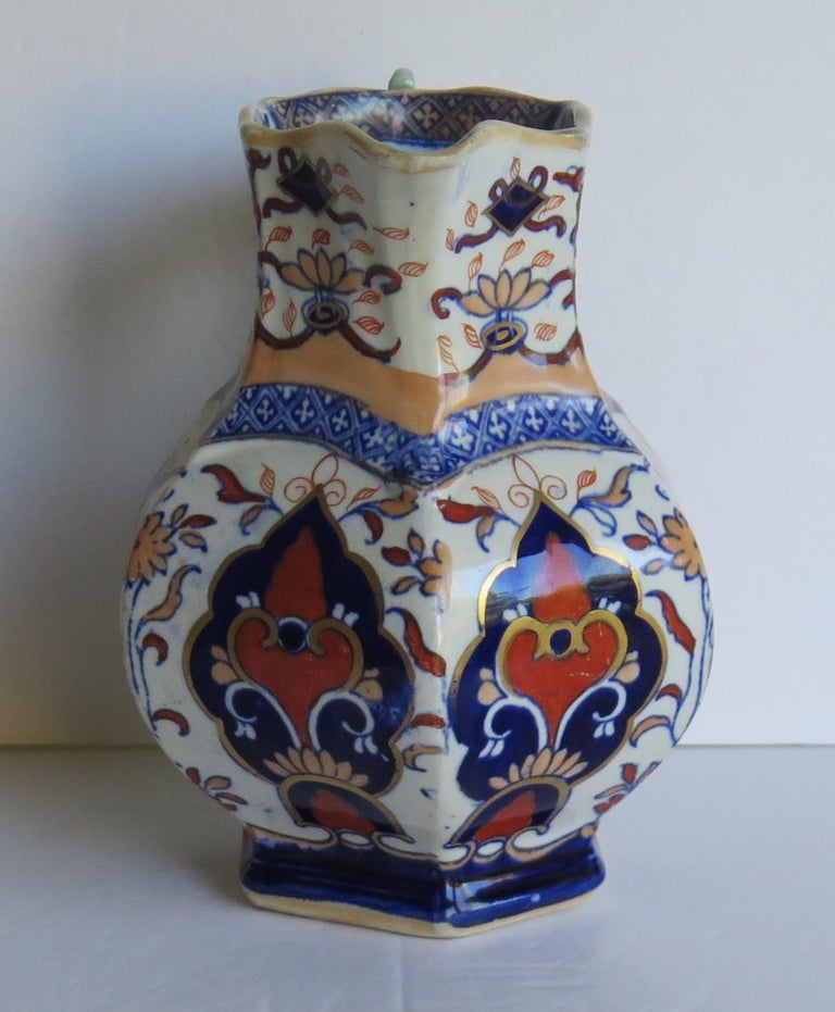 Mason's Ironstone Jug or Pitcher in Rare Shape and Pattern 306, circa 1830 For Sale 1