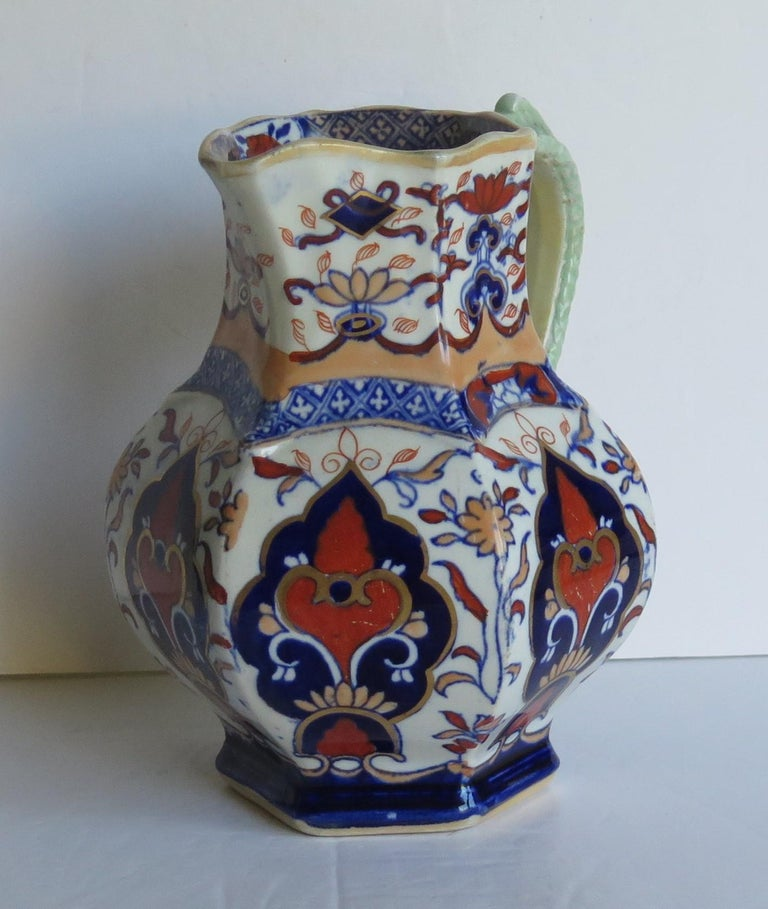 Mason's Ironstone Jug or Pitcher in Rare Shape and Pattern 306, circa 1830 For Sale 2