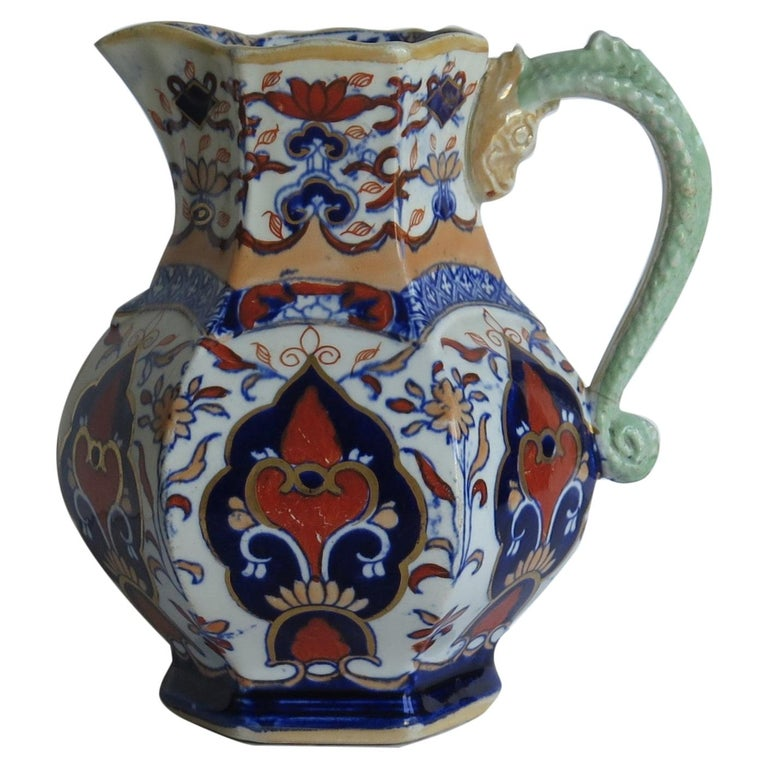 Mason's Ironstone Jug or Pitcher in Rare Shape and Pattern 306, circa 1830 For Sale