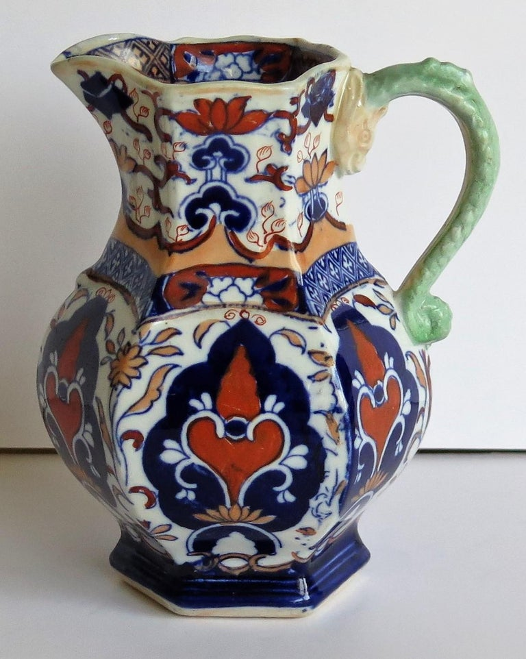 Mason's Ironstone Jug or Pitcher Rare Shape and Pattern 306, circa 1830 For Sale 4