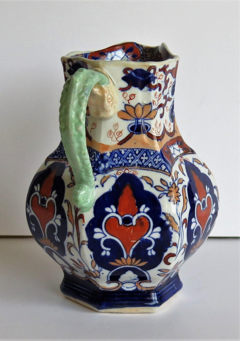 Hand-Painted Mason's Ironstone Jug or Pitcher Rare Shape and Pattern 306, circa 1830 For Sale