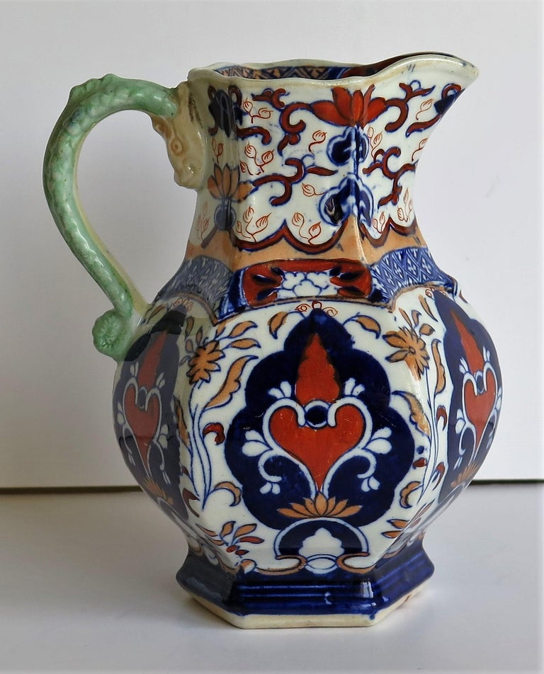 19th Century Mason's Ironstone Jug or Pitcher Rare Shape and Pattern 306, circa 1830 For Sale