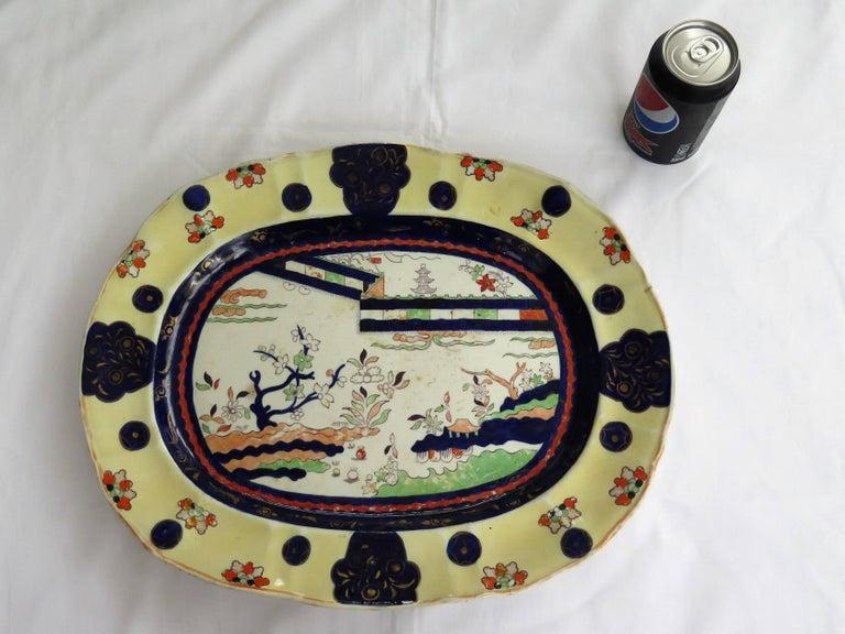 Mason's Ironstone Large Platter Colored Wall Pattern Irish Retailers Mk, Ca 1840 For Sale 10