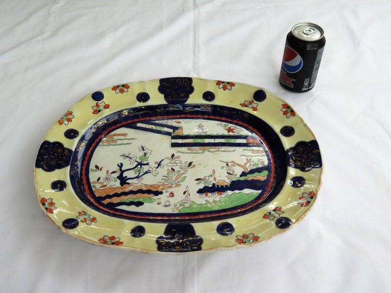 Mason's Ironstone Large Platter Colored Wall Pattern Irish Retailers Mk, Ca 1840 For Sale 11