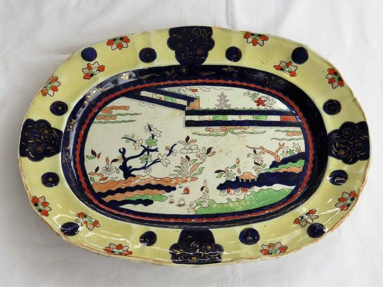 Chinoiserie Mason's Ironstone Large Platter Colored Wall Pattern Irish Retailers Mk, Ca 1840 For Sale