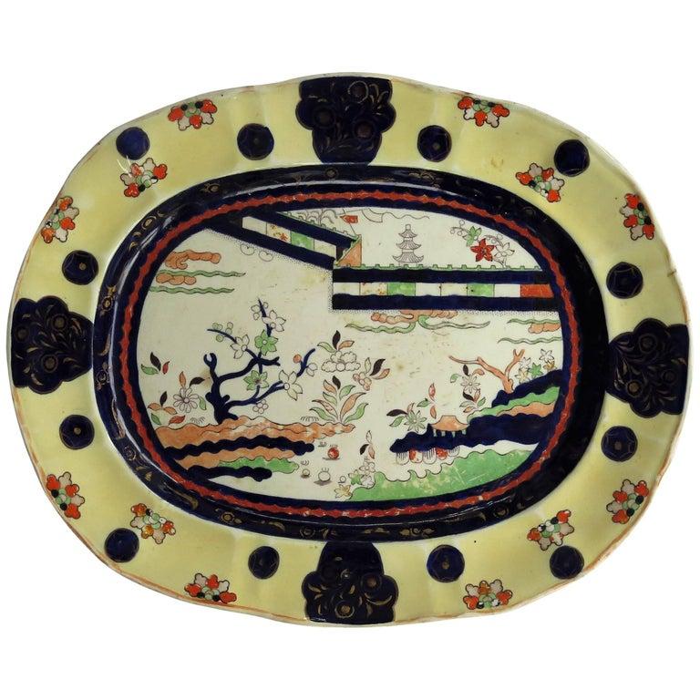 Mason's Ironstone Large Platter Colored Wall Pattern Irish Retailers Mk, Ca 1840 For Sale