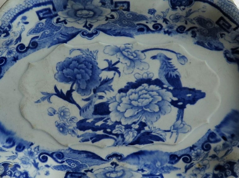 19th Century Mason's Ironstone Serving Dish Blue and White India Pheasants Pattern,circa 1820 For Sale