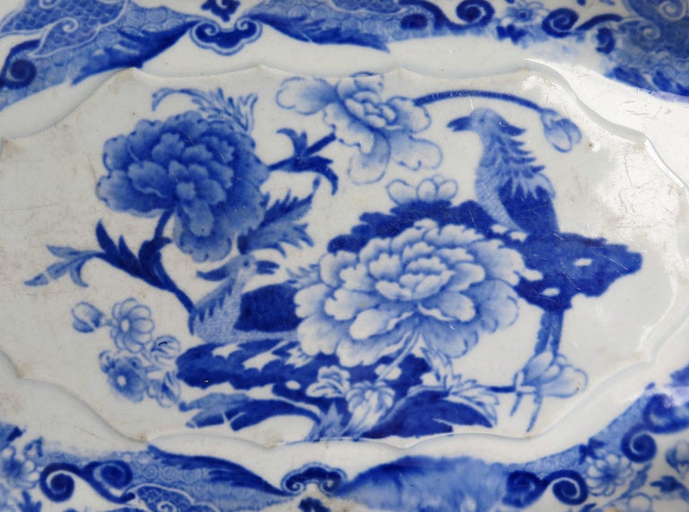 Mason's Ironstone Serving Dish Blue and White India Pheasants Pattern,circa 1820 For Sale 2