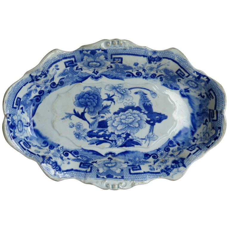 Mason's Ironstone Serving Dish Blue and White India Pheasants Pattern,circa 1820 For Sale