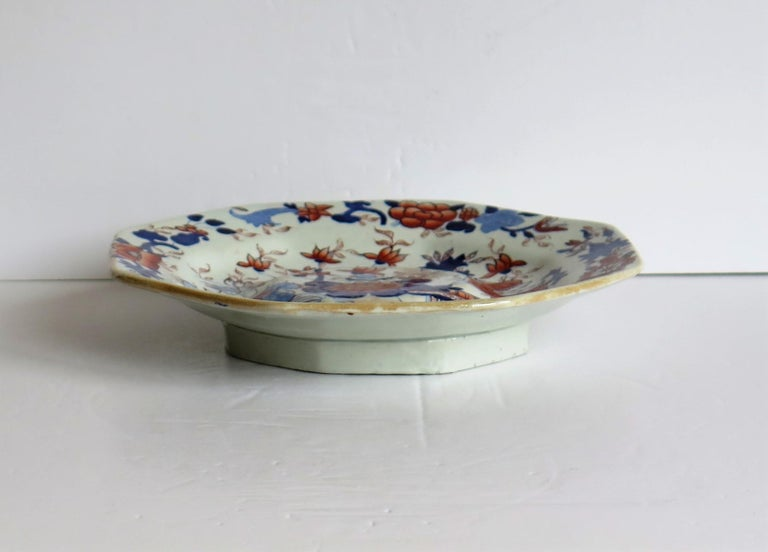 Hand-Painted Mason's Ironstone Stand or Footed Octagonal Plate Japan Basket Pattern