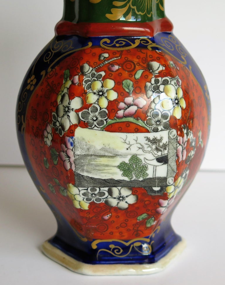Mason's Ironstone Vase Hand Painted in Landscape and Prunus Pattern, circa 1830 For Sale 5