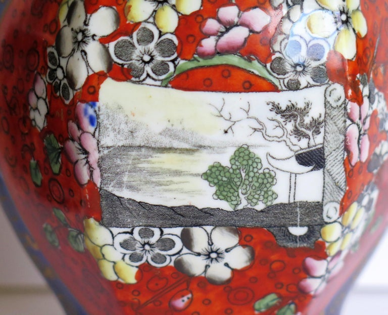 Mason's Ironstone Vase Hand Painted in Landscape and Prunus Pattern, circa 1830 For Sale 6
