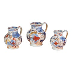 Mason's Rare Graduated Set of Three Jardinière Pattern Imari Ironstone Jugs