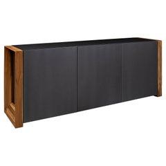 Masp Sideboard in Graphite Finish and Teak End Frames
