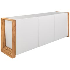 Masp Sideboard in White Finish and Teak End Frames