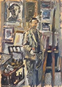 """Artist in the studio"" oil on board by Masri"
