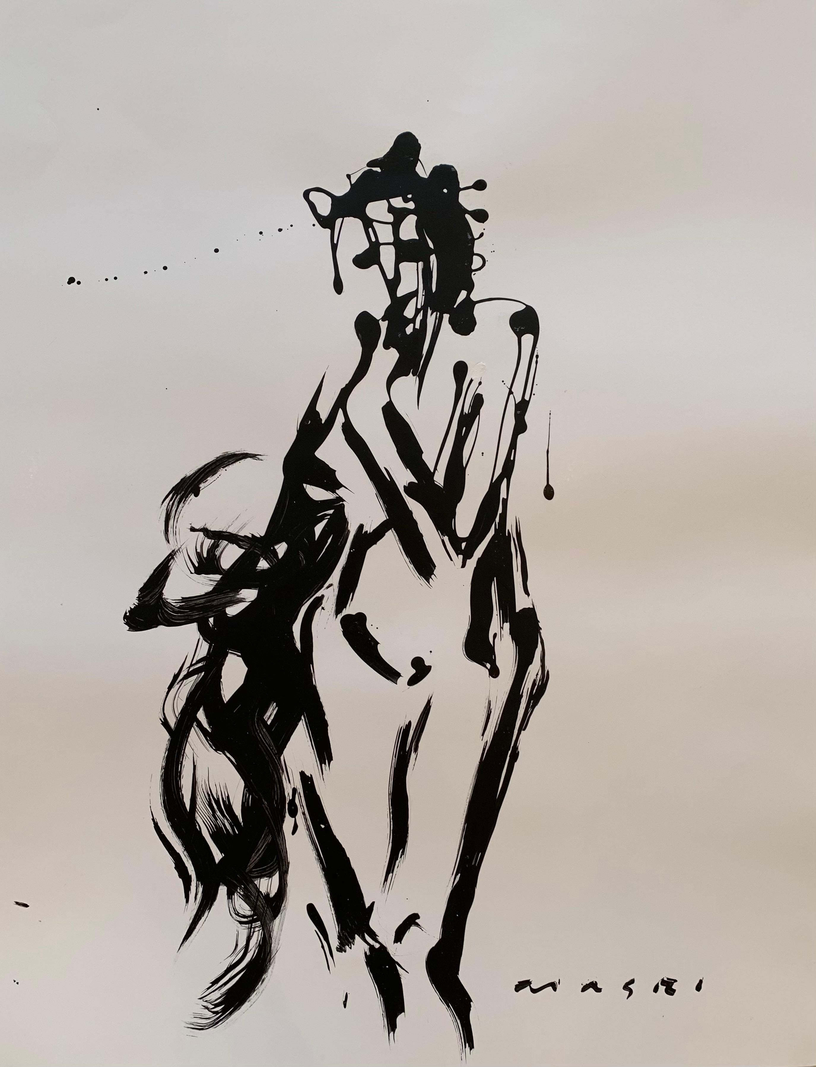 """""""Between Black & White #27 Figure Series"""" Oil on paper Original piece by Masri"""
