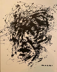 """Black on white self portrait"" oil on canvas original by Masri"