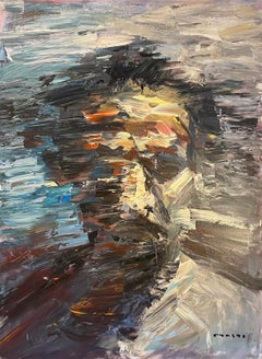 """Portrait of a man on a blue background"" Oil on canvas 36"" x 48 5"" Original"