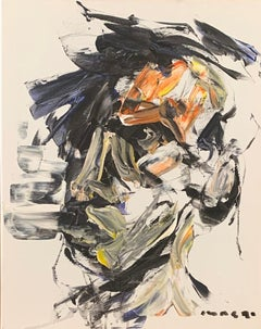 'Self Portrait in Black and Orange' oil on canvas by Masri