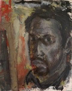 """Self Portrait In Dark"" Oil on canvas Original by Masri"